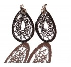 Silver - Crocheted earrings, spiral, teardrop