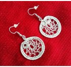 White Dangle Hoop Wire Crochet Earrings