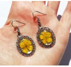 Real Flower Resin Buttercup Dangle Earrings