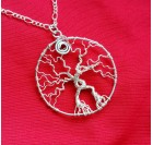 Wire Wrap Tree of Life Pendant - silver-plated wire