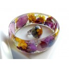 Handmade Resin Real Buttercup Orchid Bangle Bracelet