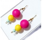 Dangle Earrings for Women - Cyclamen, yellow, turquoise