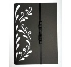 Greeving card - black bow, carved motif of flowers