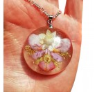 Real Flower Resin Angel Pendant - Amobium, orchid