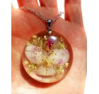 Real Flower Resin Angel Pendant - Wild rose, orchid, Angelica